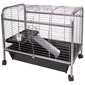 A standard guinea pig cage that provides enough space for one.