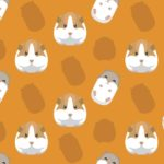 Illustration of guinea pigs and hamsters lined up on orange background.